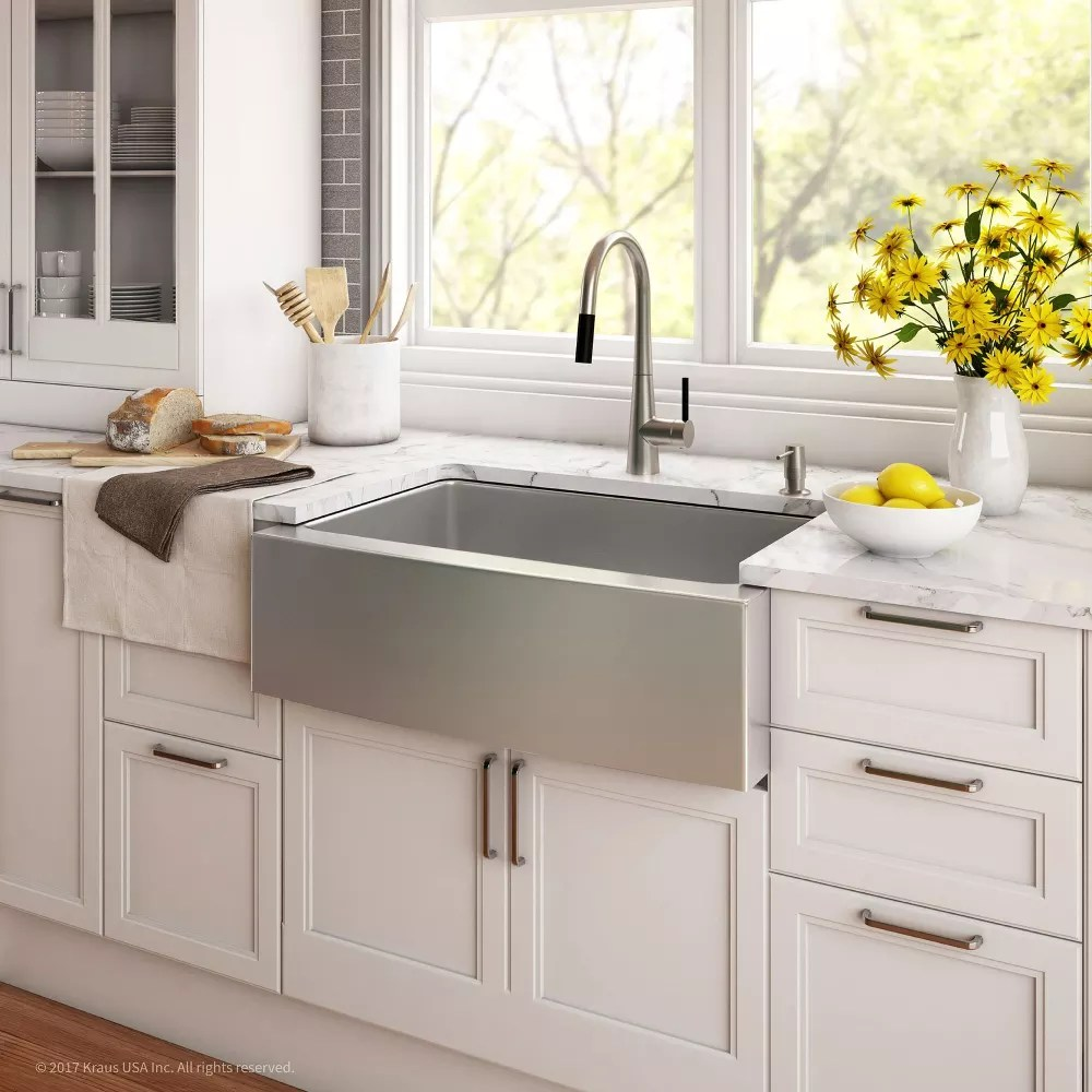 Kraus KHF20030 30 Inch Farmhouse Single Bowl Stainless Steel Kitchen Sink With 16 Gauge 10 Inch