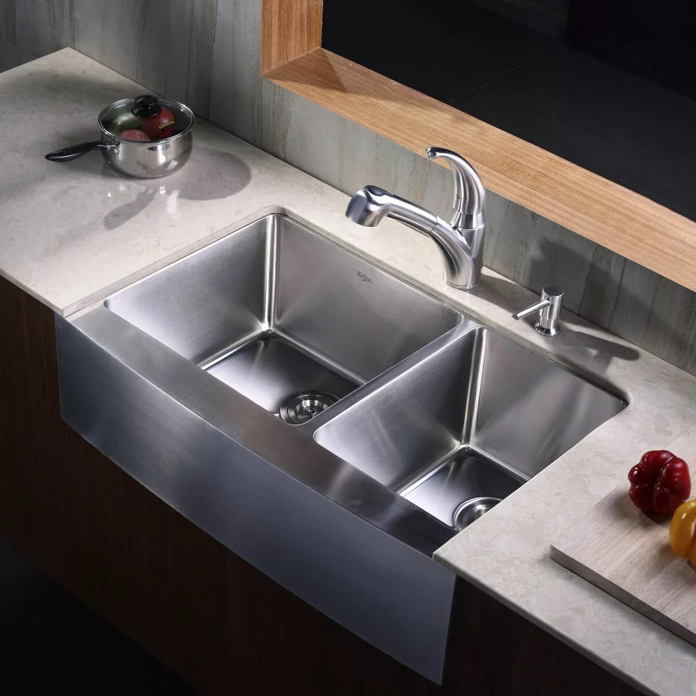 ada compliant kitchen sink mexican style decor kraus khf20333kpf2110sd20 33 inch stainless steel 70/30 ...