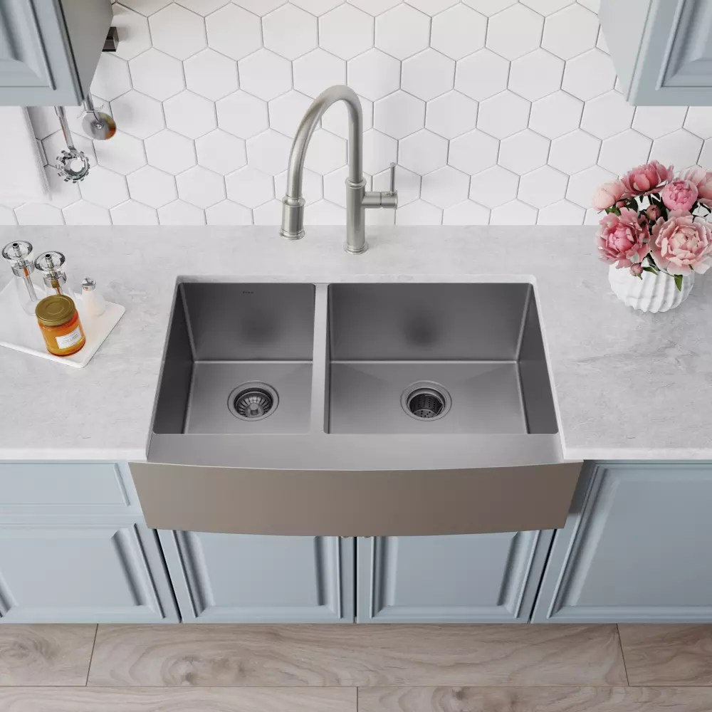 60 40 kitchen sink designer wall tiles kraus khf20433 33 inch farmhouse double bowl with 16 gauge stainless steel construction scratch resistant finish rear set drains