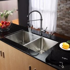 Pull Out Spray Kitchen Faucet Sink Cabinet Kraus Khu10333kpf1612ksd30ch 33 Inch Undermount Double ...