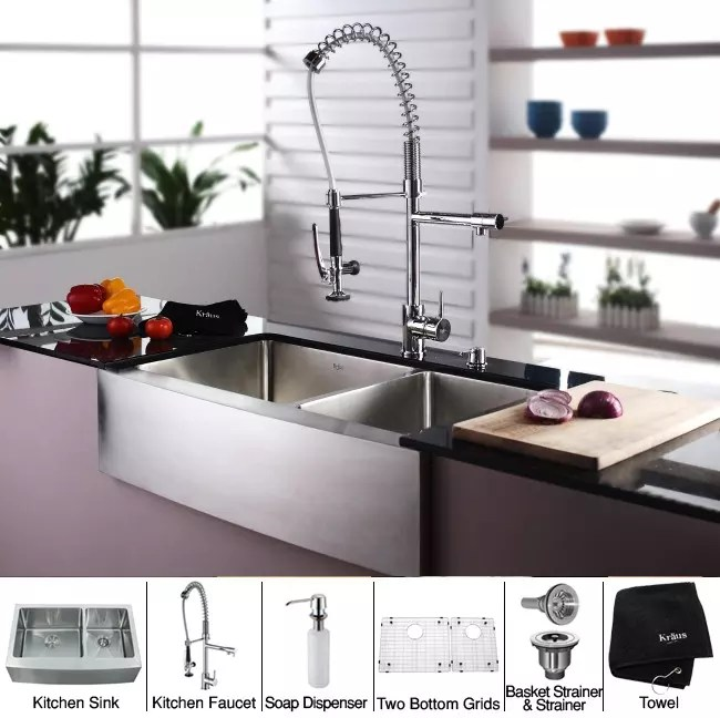 36 inch kitchen sink cabinets lancaster pa kraus khf20336kpf1602ksd30ch farmhouse double bowl stainless combo series and accessories