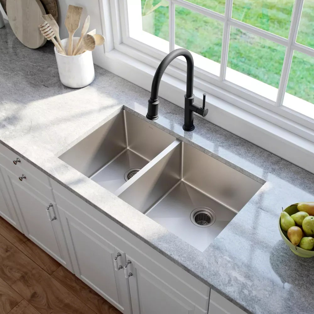 60 40 kitchen sink home depot garbage cans kraus khu10433 33 inch undermount double bowl standart pro series lifestyle view