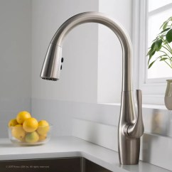 Stainless Steel Kitchen Faucets Cabinet Design Ideas Kraus Kpf1670sfs Dual Function Pull Down Faucet With All Esina Front View Lifestyle