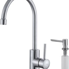 Kraus Kitchen Faucets Cabinets Long Island Kpf2160sd20 Single Lever Stainless Steel Faucet With Series And Soap Dispenser