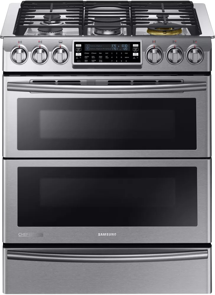 Samsung NY58J9850WS 30 Inch Slidein Dual Fuel Range with