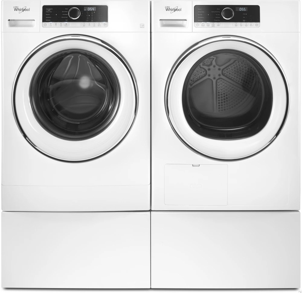 Whirlpool WPWADRE701 SidebySide on Pedestals Washer  Dryer Set with Front Load Washer and