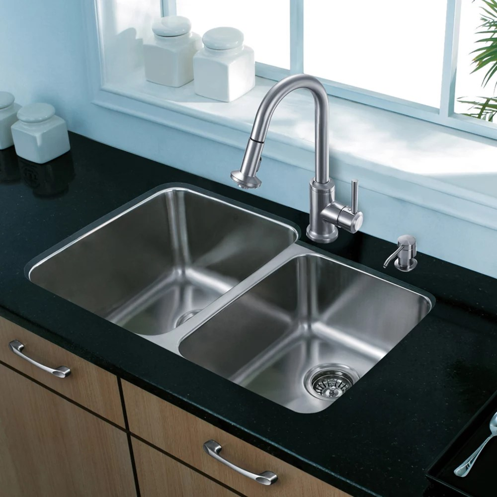 kitchen hoods for sale copper knobs cabinets vigo industries vg3221lk1 32 inch undermount double bowl ...