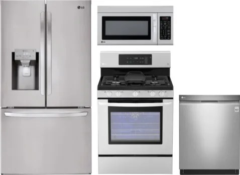 lg kitchen appliance packages cheap cabinet sets lgreradwmw8480 4 piece appliances package with french