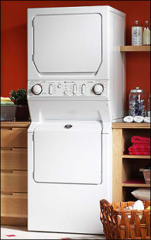 Maytag MLE2000AYW 27 Inch Electric Laundry Center with 334 Cu Ft Washer Capacity 4 Wash