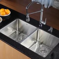 Kraus Kitchen Sinks Boots Khu10233kpf1612ksd30ch 33 Inch Undermount 50 Double Bowl Combo Series Farmhouse Sink