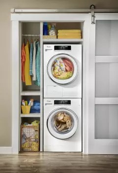 Whirlpool WPWADRE702 Stacked Washer  Dryer Set with Front Load Washer and Electric Dryer in White