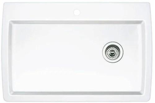 blanco kitchen sink sinks 440195 33 inch drop in undermount single bowl granite diamond white top view