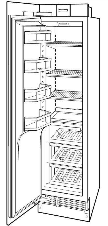 Sub-Zero IC18FI 18 Inch Built-in Freezer Column with 8.4