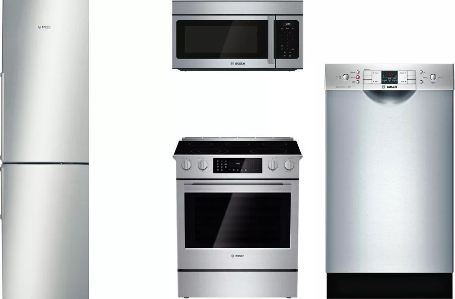 4 piece stainless steel kitchen appliance package quartz countertops bosch boreradwmw3 appliances with ...