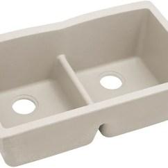 Elkay Kitchen Sinks Wood Cabinets Elgdulb3322bq0 33 Inch Double Bowl Undermount Sink Quartz Classic Bisque