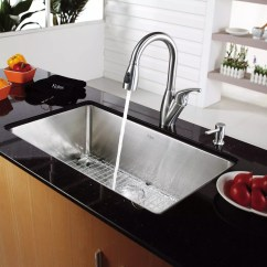 Stainless Steel Kitchen Sinks Undermount Corner Kraus Khu10030kpf2121sd20 30 Inch Single Bowl