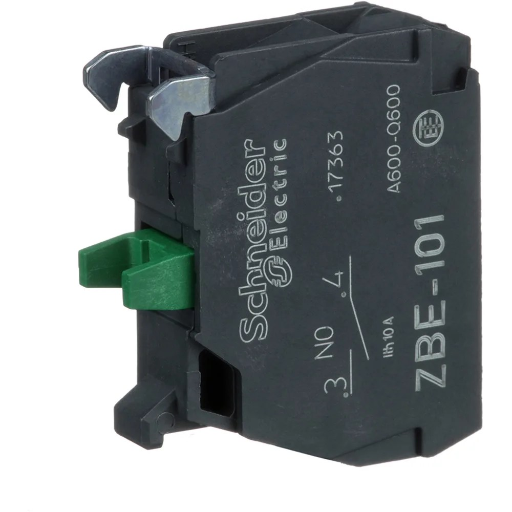 medium resolution of schneider electric zbe101 single contact block for 022 head 1no 6a 600v screw terminal allied electronics automation