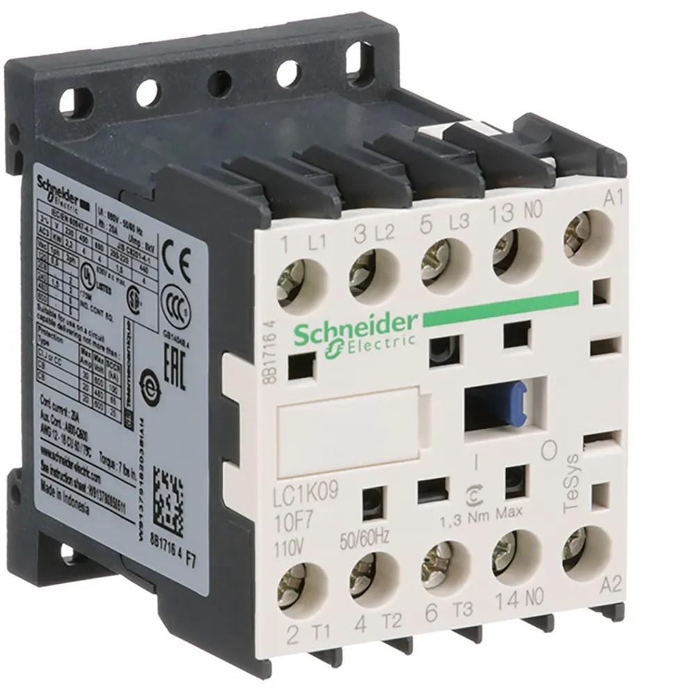 medium resolution of schneider electric lc1k0910f7 contactor power poles 1 spst no