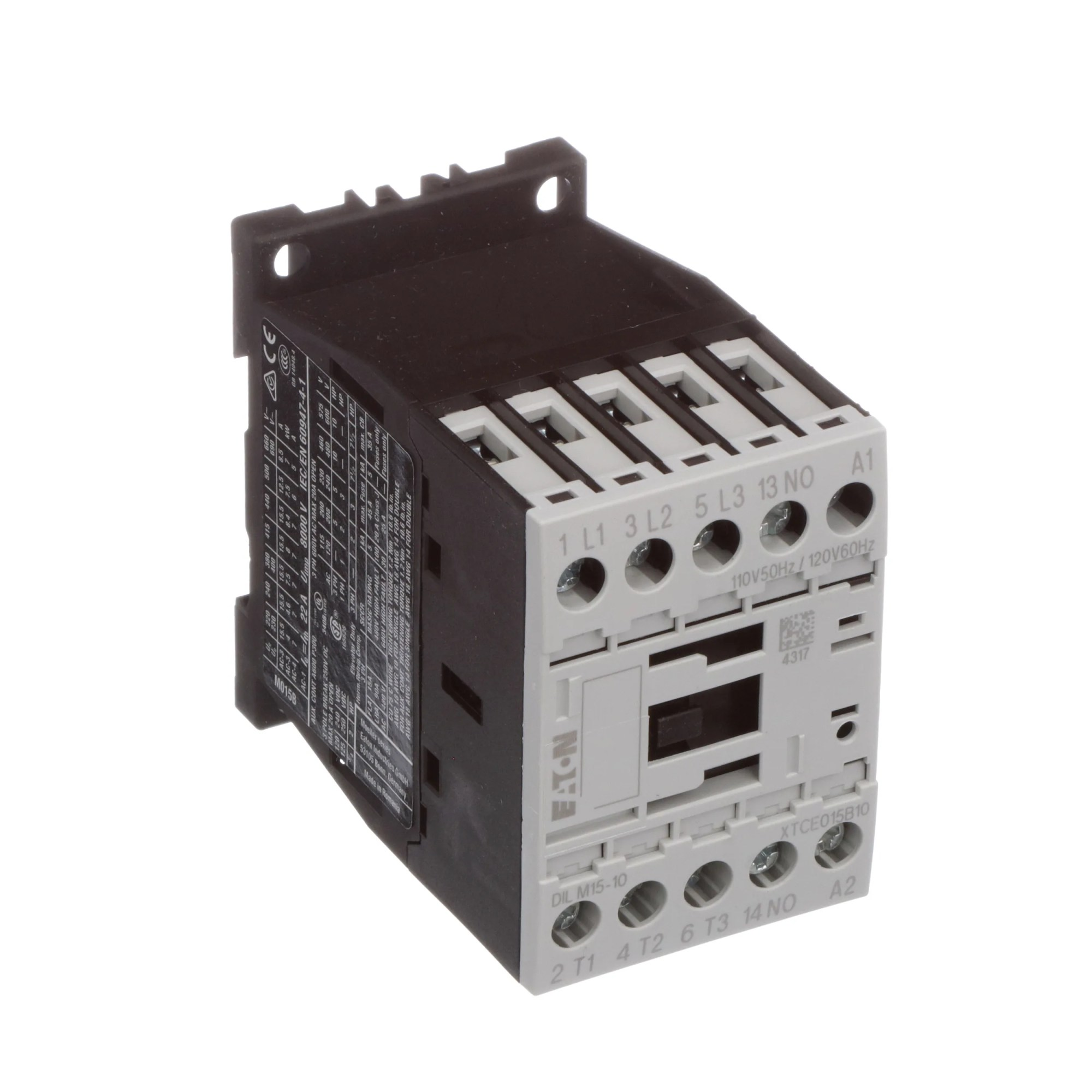 hight resolution of eaton cutler hammer xtce015b10a contactor iec 3 pole fnvr 15a b frame 1no 110v 50hz 120v 60hz coil allied electronics automation