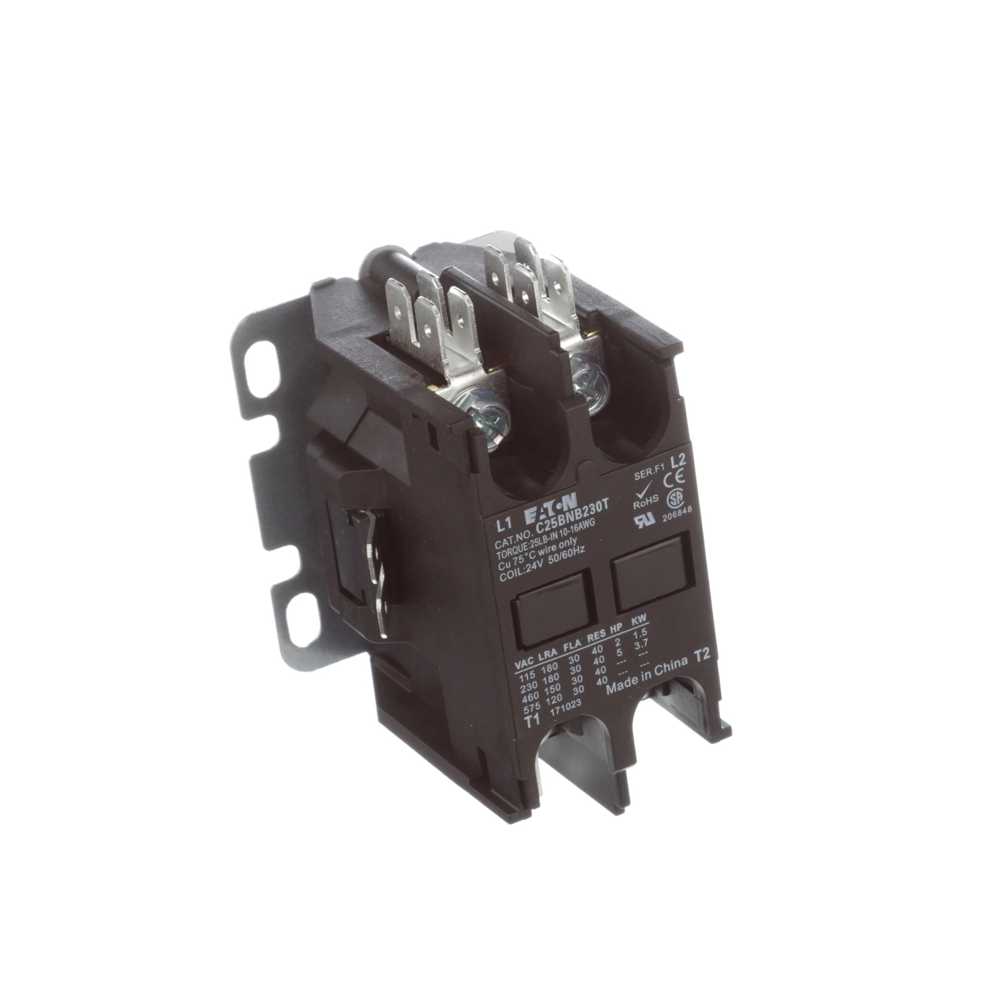 hight resolution of eaton cutler hammer c25bnb230t contactor dp 2 pole 30a 24vac coil allied electronics automation