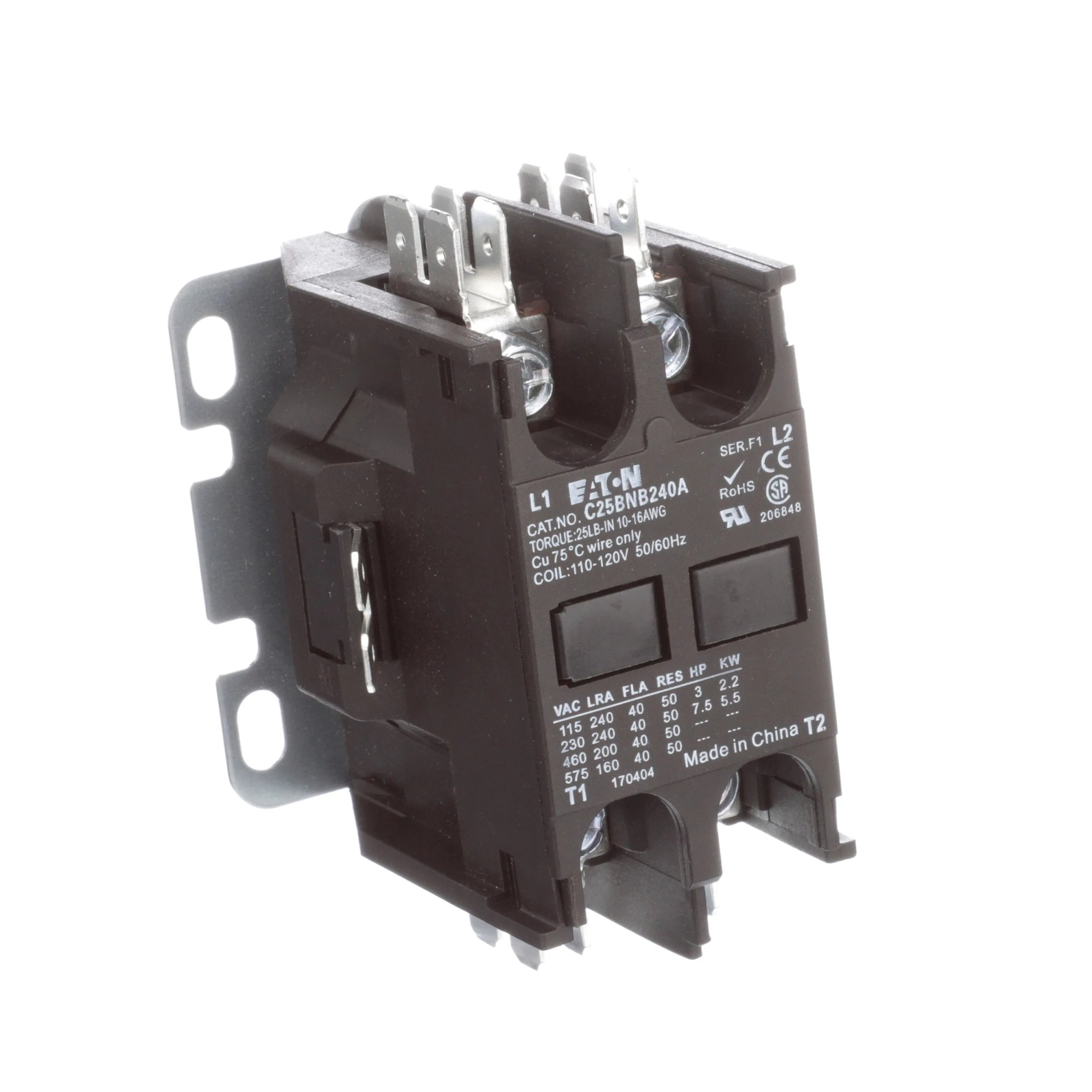 hight resolution of eaton cutler hammer c25bnb240a definite purpose control contactor 2 pole 40a 120vac coil allied electronics automation