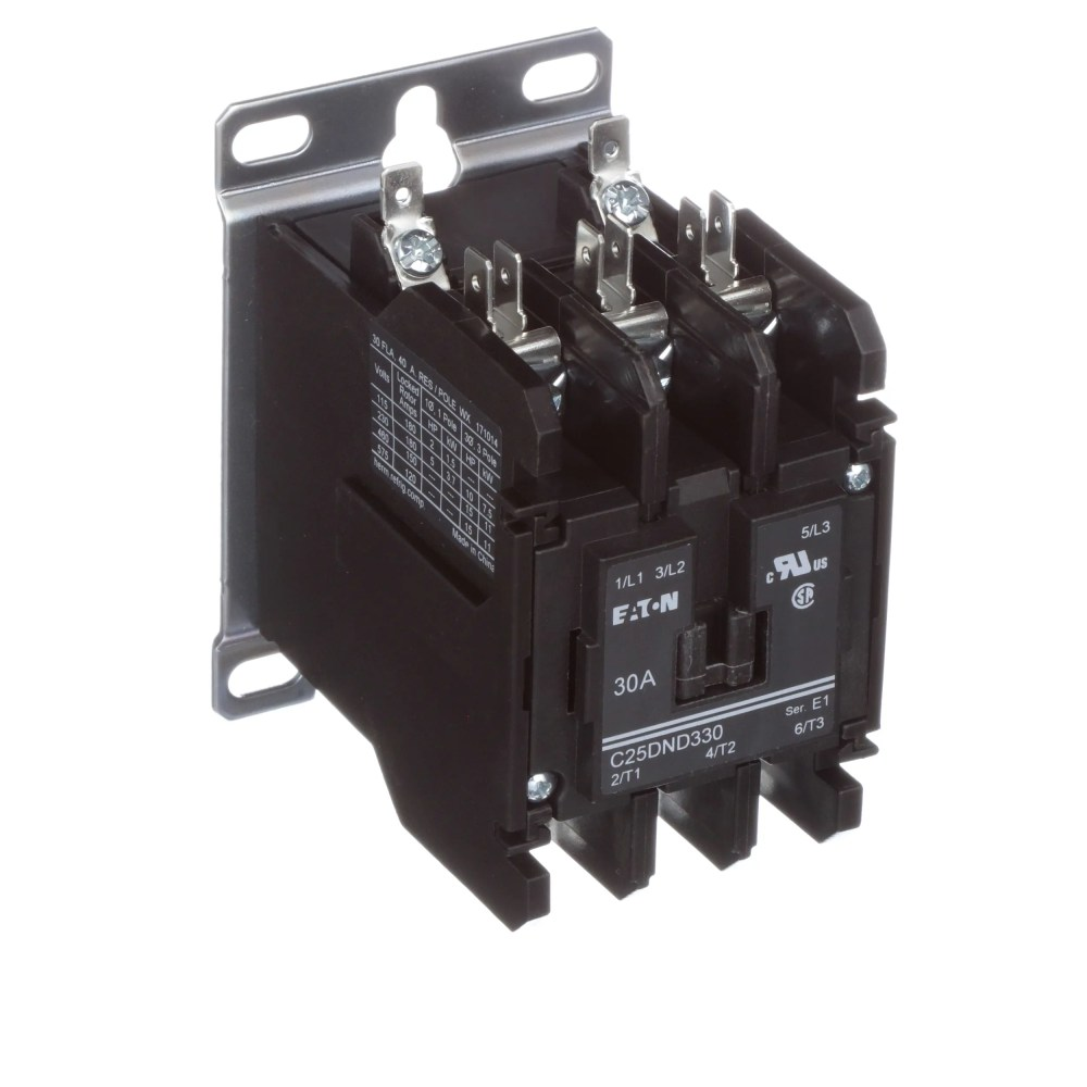 medium resolution of eaton cutler hammer c25dnd330a definite purpose control contactor 3 pole 30a 120vac coil allied electronics automation