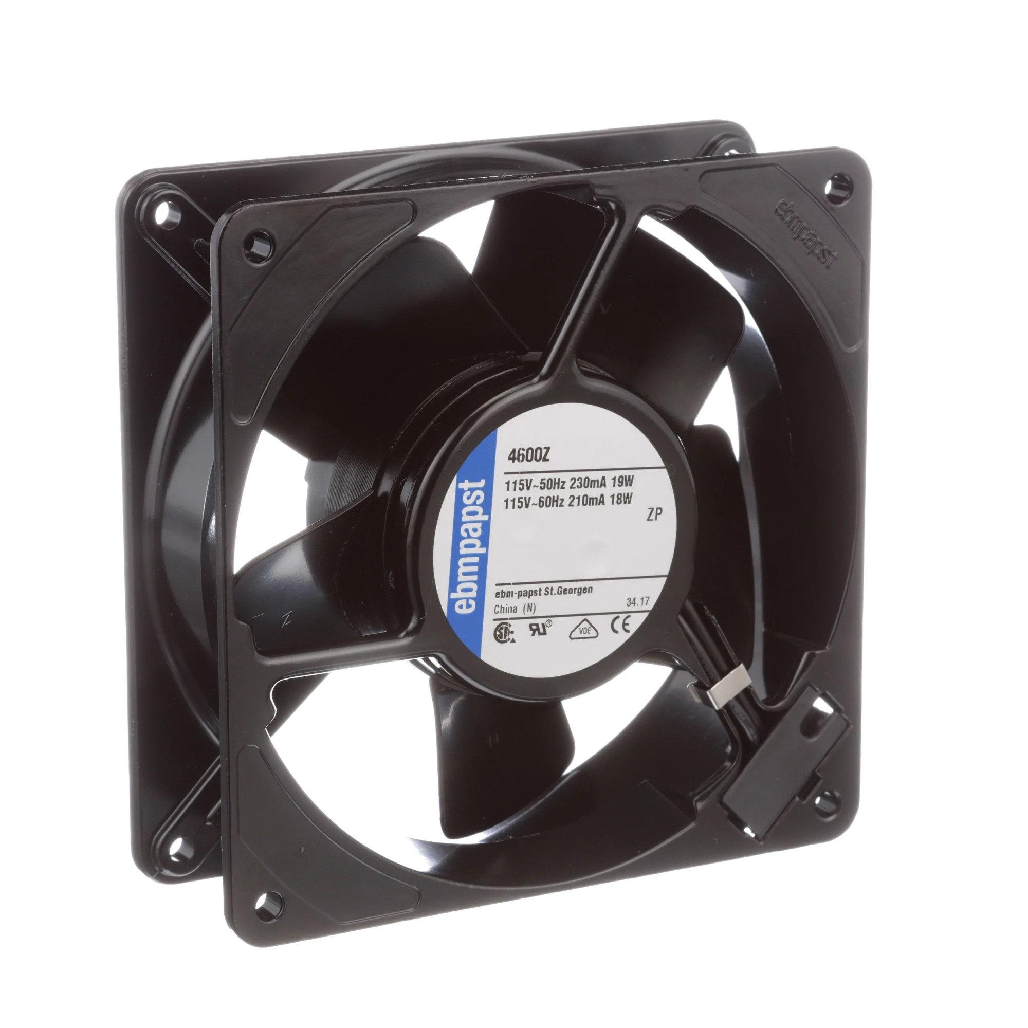hight resolution of ebm papst 4600z fan ac 115v 120x120x38mm sq 105 9cfm 18w 45dba 3100rpm terminals allied electronics automation