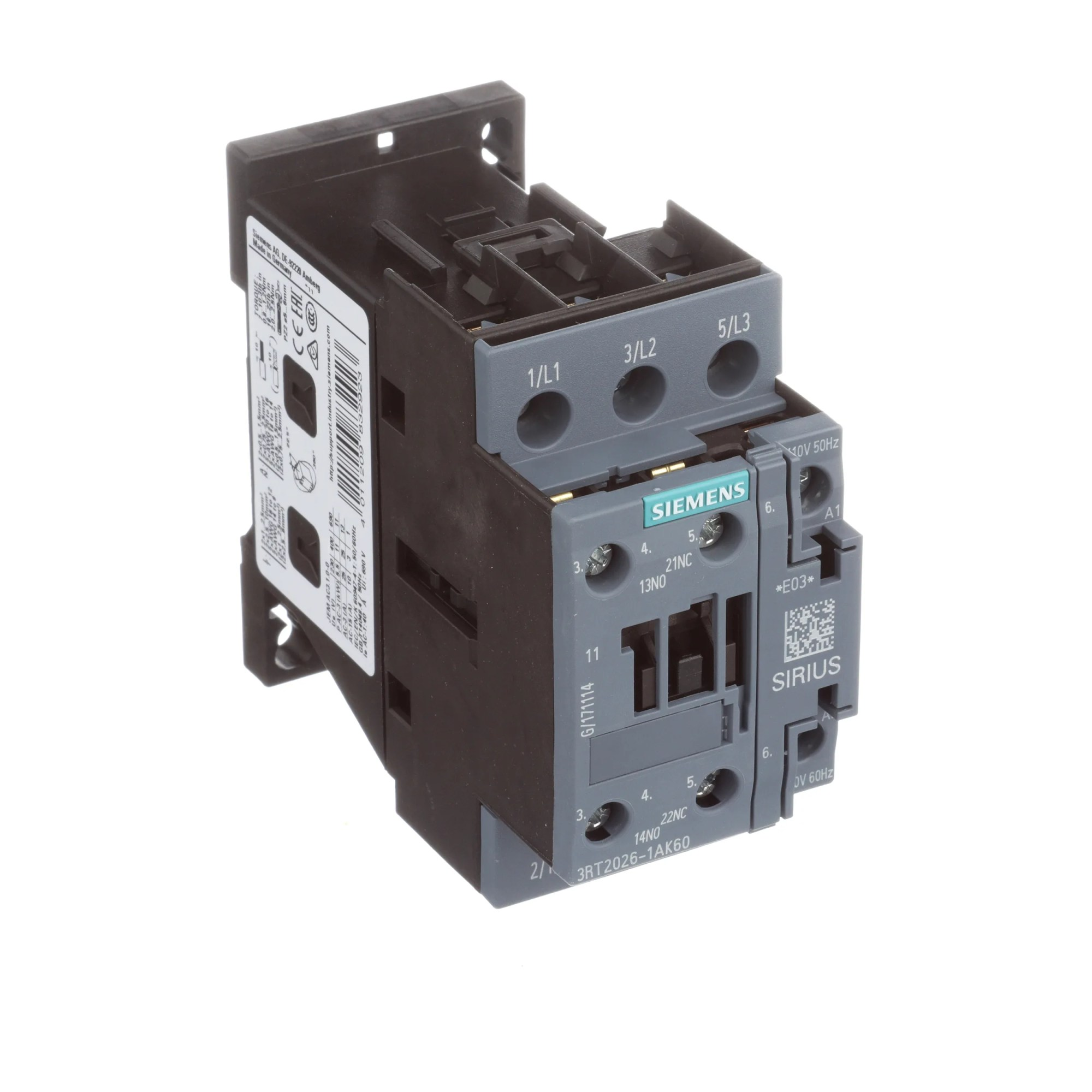 hight resolution of siemens 3rt20261ak60 sirius 3rt 3 pole contactor 25 a 11 kw 110 v ac 50 hz 120 v ac 60 hz coil allied electronics automation