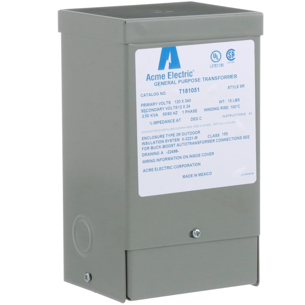 medium resolution of acme electric corporation t181051 buck boost xformer 1 phase 60 hz 120x 240 v input 12 24 v output 0 50kva allied electronics automation