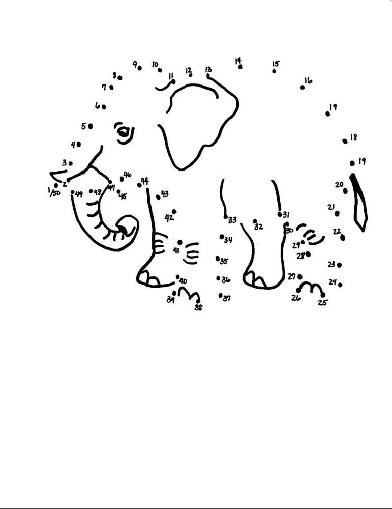 Zoo Guide Supplemental: Elephant Dot-to-Dot (Kids Coloring