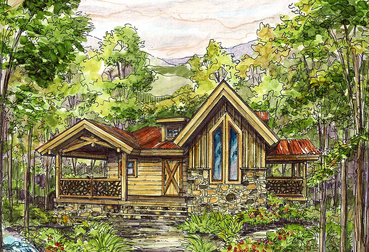 Cozy Log Home Plan - 13324ww Architectural Design