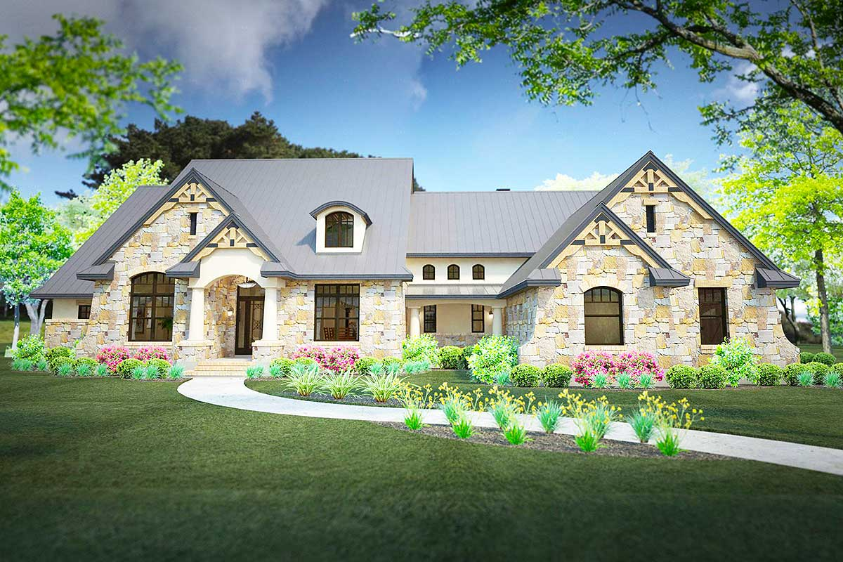 Stone Clad House Plan with 2 Bonus Rooms  16892WG  Architectural Designs  House Plans