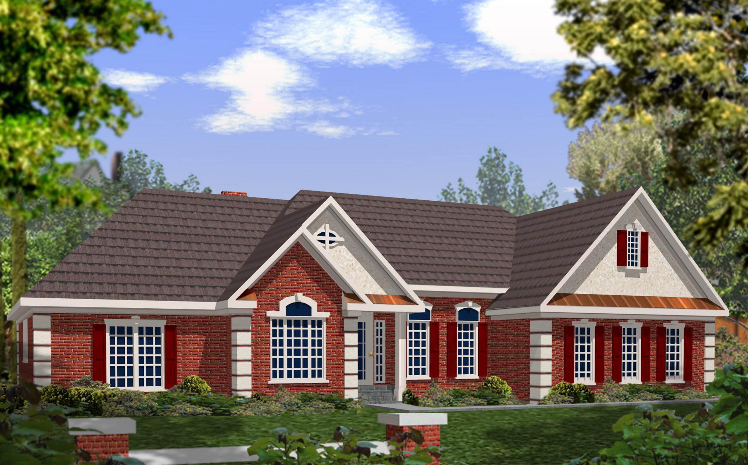 Dramatic Brick And Stucco Ranch - 2029ga Architectural