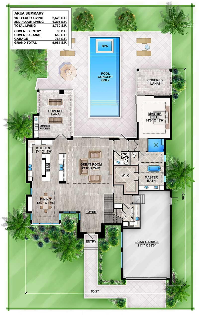 Master Down Modern House Plan With Outdoor Living Room