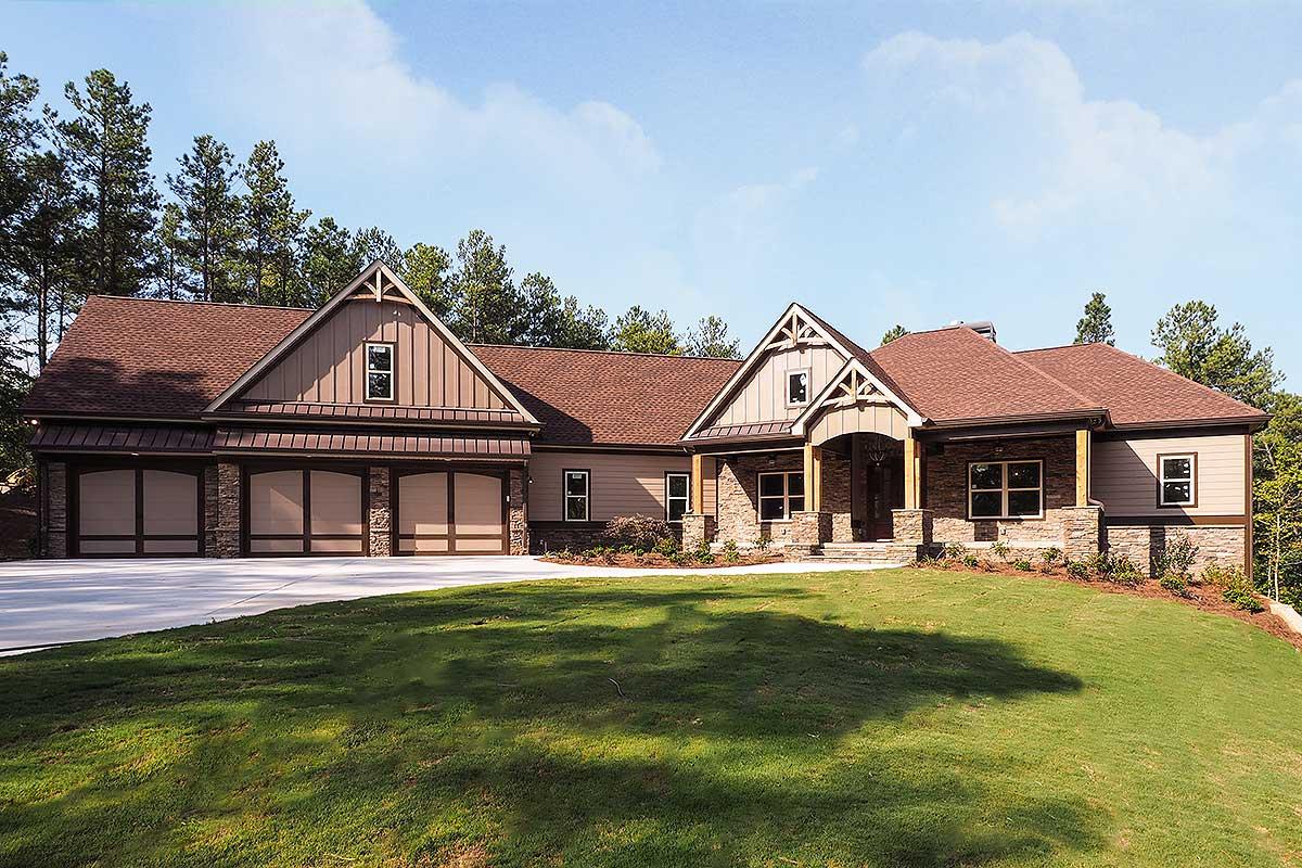 Craftsman House Plan With 3 Car Angled Garage - 36075dk