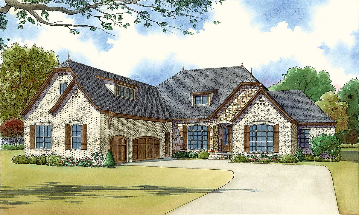 Four Bedroom Brick And Stone House Plan 70533mk Architectural Designs House Plans