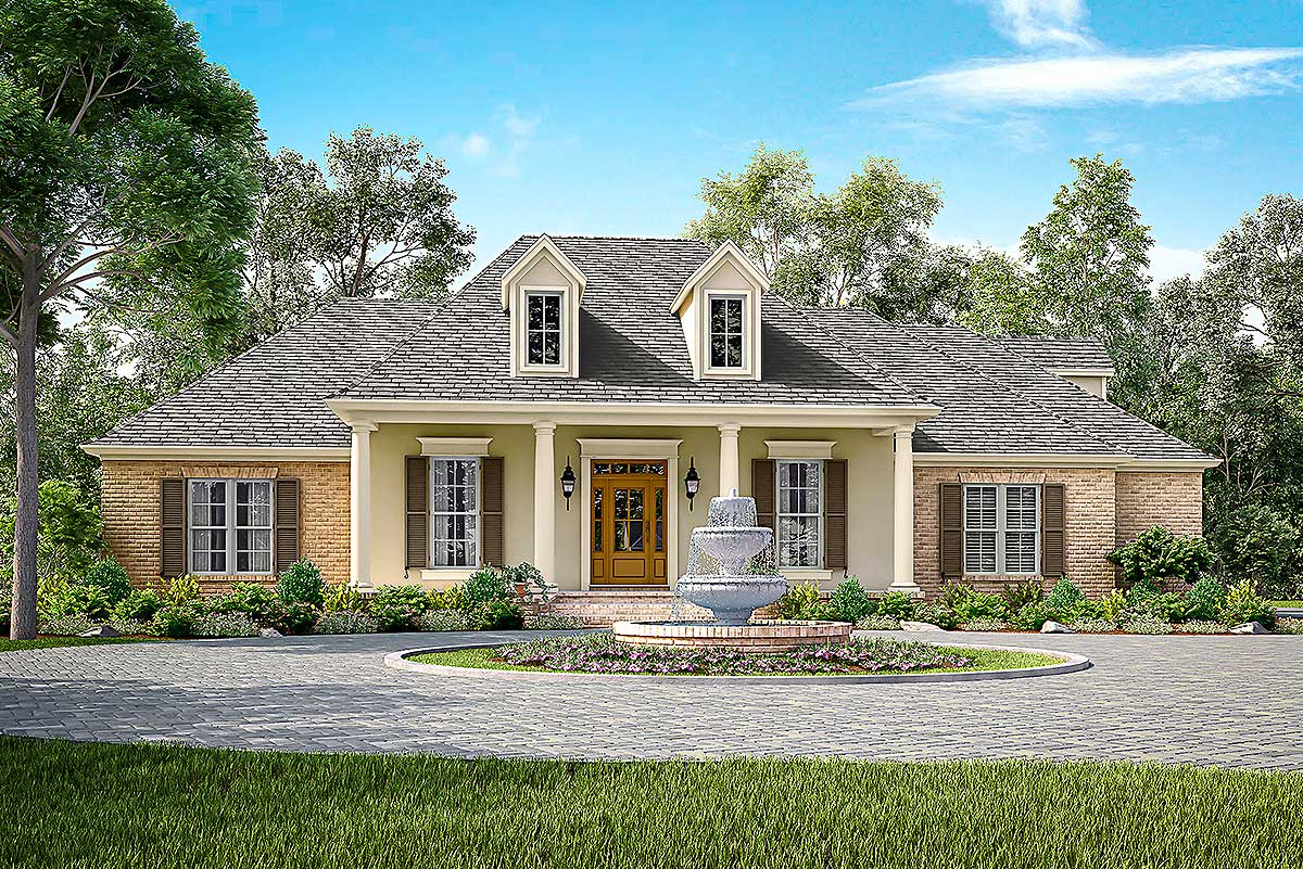 Elegant Acadian House Plan With Three Or Four Beds
