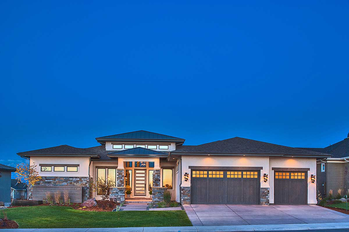 Stylish Prairie Mountain Modern House Plan  95033RW