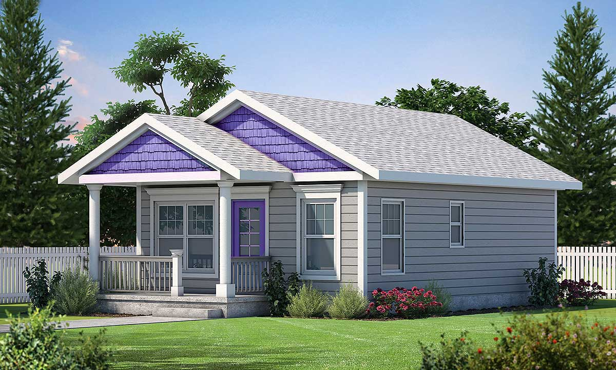 2 Bed Tiny House Plan With Cozy Front Porch 42419db