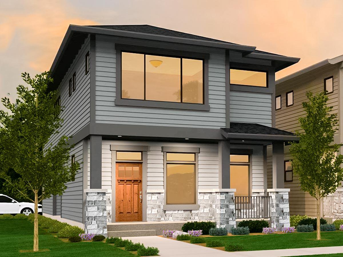 3-bed Modern Prairie House Plan Narrow Lot - 85172ms