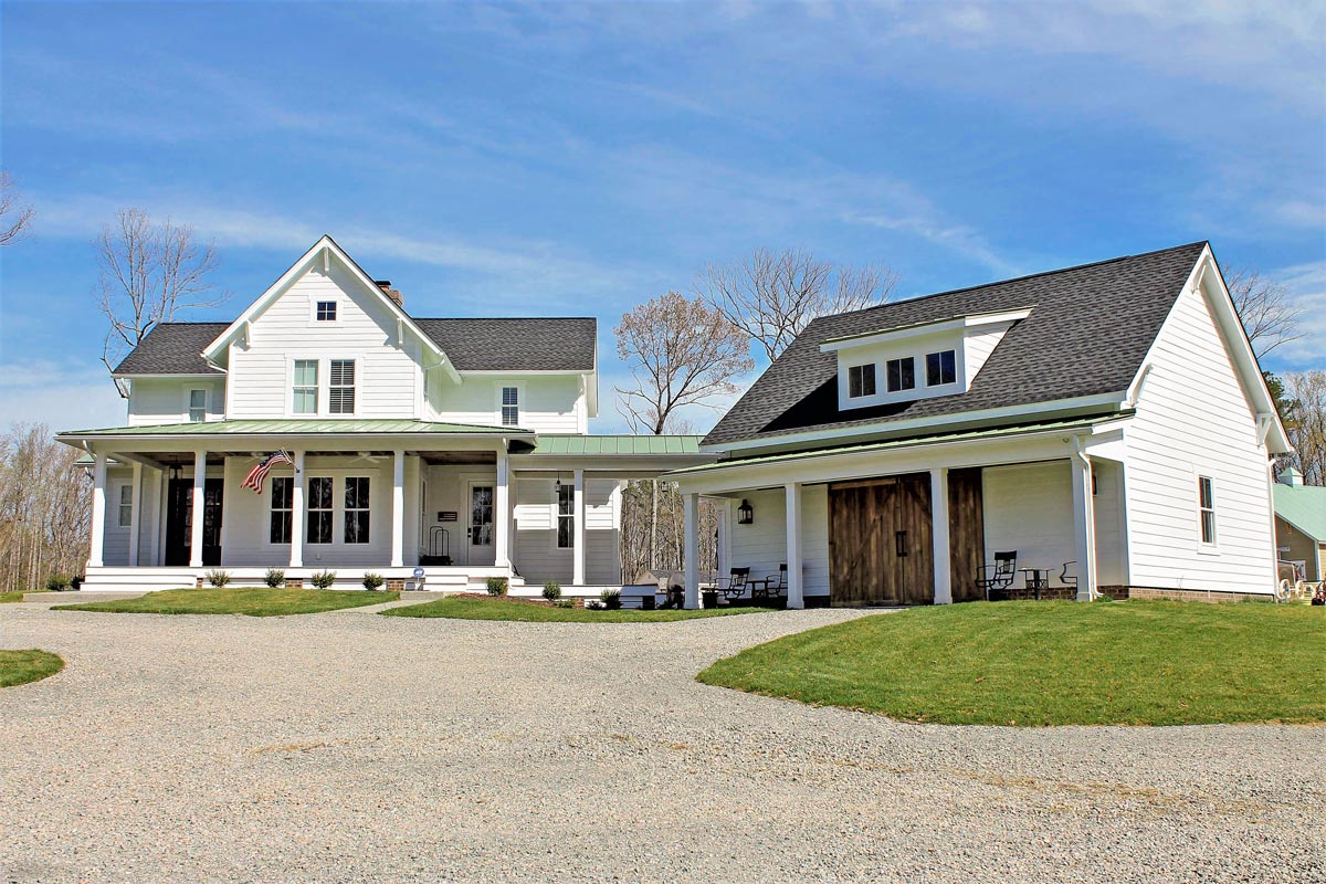 Quintessential American Farmhouse With Detached Garage And