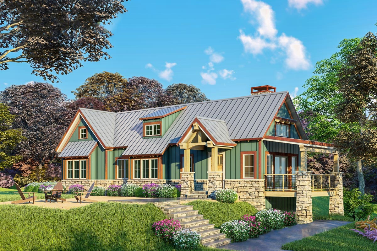 Rugged Country House Plan With Vaulted Great Room