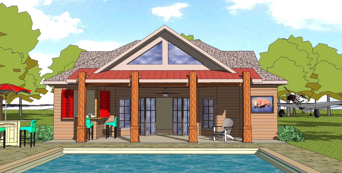 Tiny Beach House Plan With Exterior Options 530013ukd