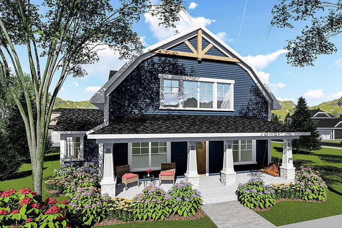 3 Bed House Plan With Gambrel Roof 890051ah