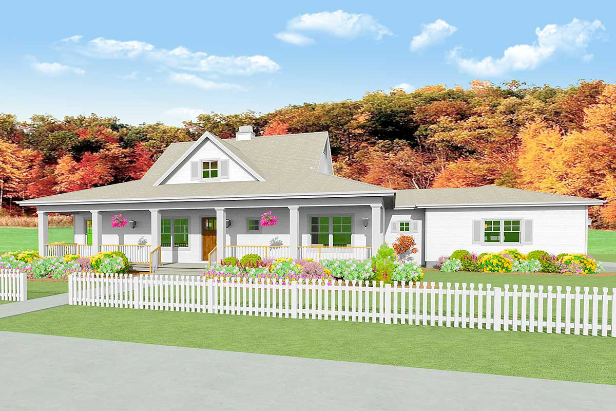 Country House Plan with Unfinished Basement  28917JJ