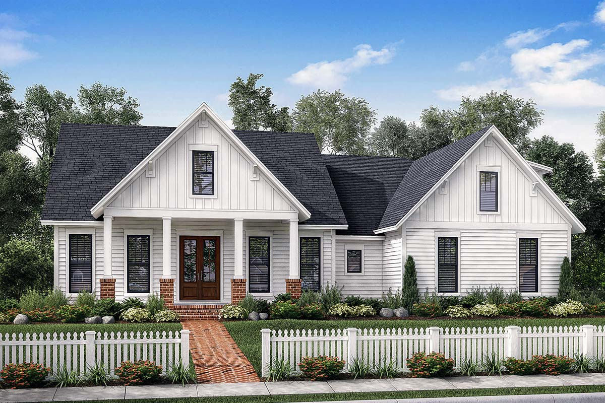 Exclusive Farmhouse with Bonus Room and Side Load Garage  51772HZ  Architectural Designs
