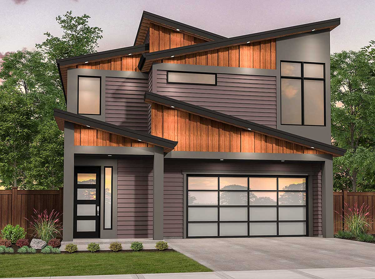 Edgy Modern House Plan With Shed Roof Design - 85216ms