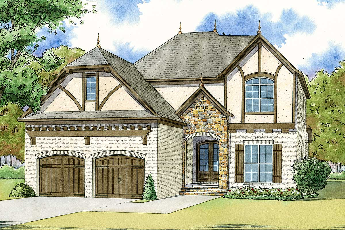 Tudor House Plan With Charming Accents - 70570mk