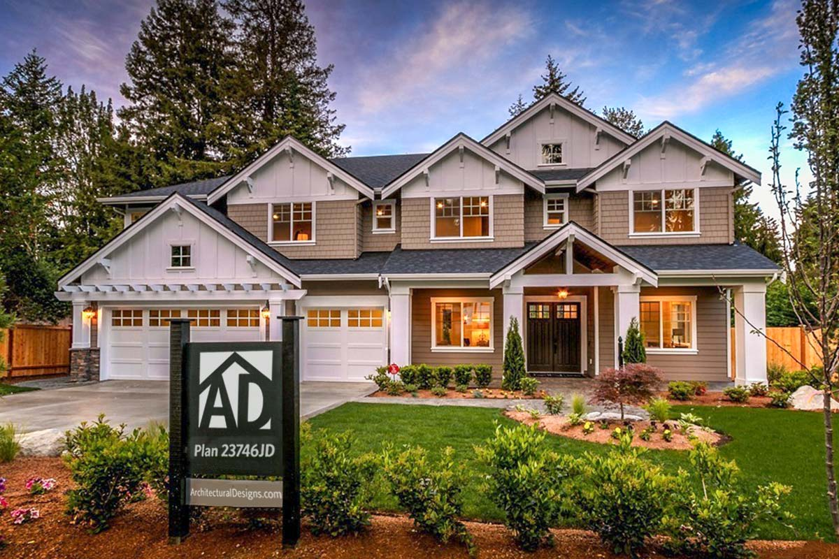Modern Craftsman House Plan With 2-story Great Room