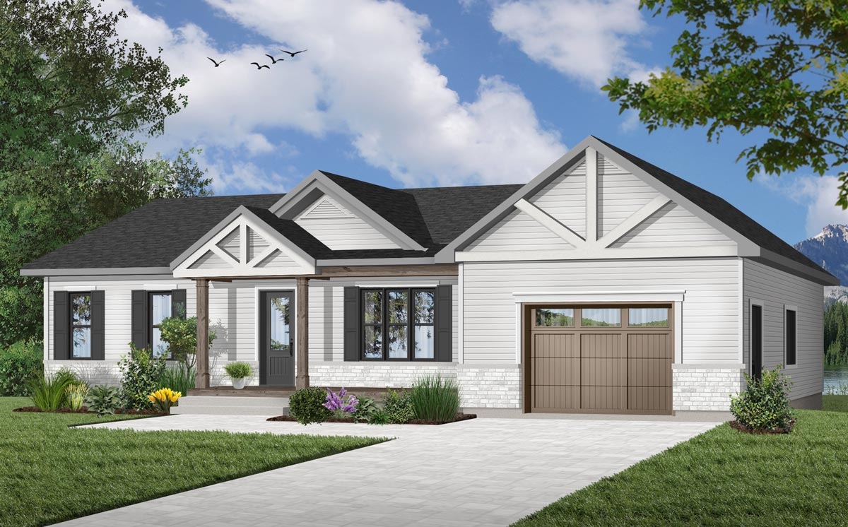 Rugged Ranch Home Plan With Attached Garage 22477dr